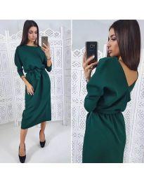 Елегантна рокля в маслено зелено - код 974