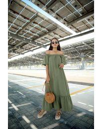 Дълга рокля в маслено зелен цвят - код 3636