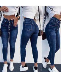 Дамски сини дънки с висока талия - код 4185