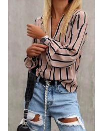 Дамска свободна риза в розово с контрастни ленти - код 831