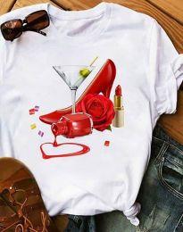 Дамска тениска в бяло с апликация - код 2438