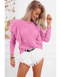 Ефектна плетена блуза в розово - код 5321