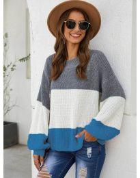 Свободна плетена блуза в синьо - код 970