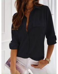 Класическа дамска риза в черно - код 450