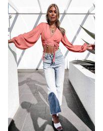 Дамска блуза в цвят праскова - код 864