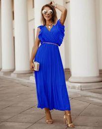 Елегантна дамска рокля с колан в синьо - код 3320