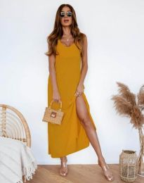Ефирна рокля в цвят горчица - код 11881