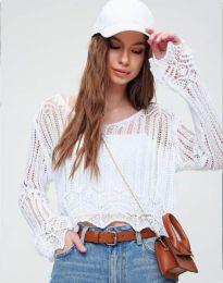 Екстравагантна дамска блуза в бяло - код 2744