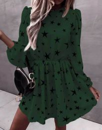 Дамска рокля в тъмнозелено на звездички - код 1689