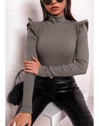 Ефектна дамска блуза в маслено зелено - код 11515