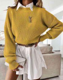 Дамски свободен пуловер в цвят горчица - код 4180