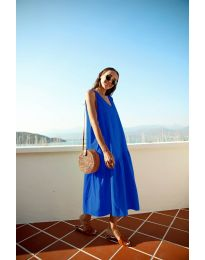 Свободна изчистена рокля в тъмно синьо - код 8810