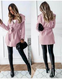 Дамско палто с колан в розово - код 643