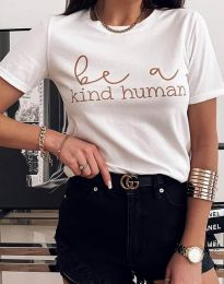 Тениска в бяло с моден принт - код 2281