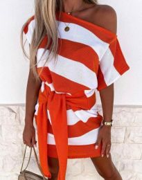 Къса рокля на ленти в оранжево - код 4633