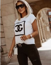 Дамска тениска в бяло с принт  - код 6698
