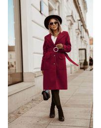 Дълго дамско палто в бордо  - код 5657