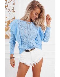 Ефектна плетена блуза в светло синьо - код 5321
