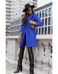 Дамско палто с колан в синьо - код 3839