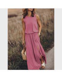 Дълга рокля в цвят пудра - код 640