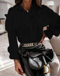 Кокетна дамска риза в черно - код 2433