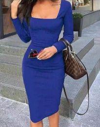Елегантна дамска рокля по в тъмносиньо - код 4521