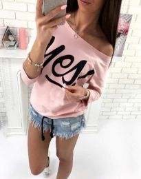 Дамска блуза в розово с надпис - код 0996