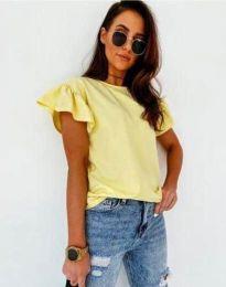 Дамска тениска с къдрици в жълто с ефектни ръкави - код 4669