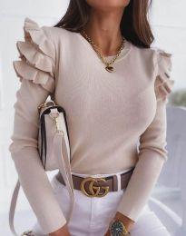 Екстравагантна дамска блуза в бежово - код 3608