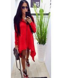 Асиметрична рокля с цип в червено - код 887