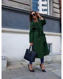 Дълго дамско палто с колан в маслено зелено - код 9099