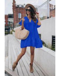 Свободна дамска рокля в тъмно синьо - код 6868