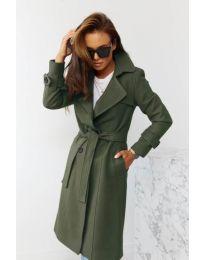Дамско палто с колан в маслено зелено - код 1500