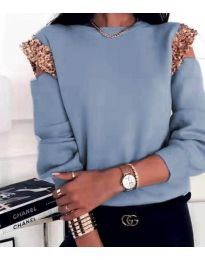 Атрактивна дамска блуза в светлосиньо - код 1539