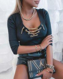 Дамска блуза с връзки в черно - код 9088