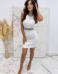 Елегантна рокля по тялото в бяло - код 2593