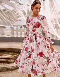 Атрактивна дамска рокля с флорален десен - код 4382 - 1