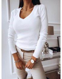 Изчистена дамска блуза в бяло - код 3521