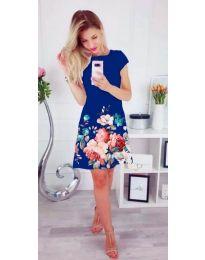 Дамска къса рокля на цветя в син цвят - код 026