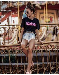 Дамска тениска в черно с принт - код 6267
