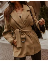 Дамско късо палто в кафяво - код 8282