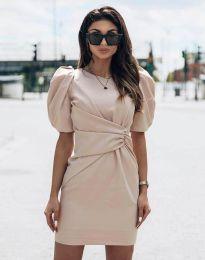 Атрактивна дамска рокля в бежово - код 9438