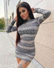 Къса дамска рокля с животински десен - код 2452 - 5