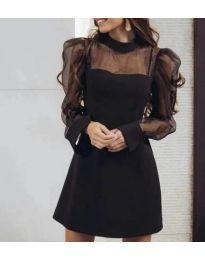 Елегантна черна рокля с тюлени ръкави и поло яка - код 825