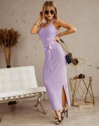 Дълга дамска рокля в светлолилаво с панделка - код 6166