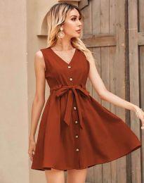 Дамска рокля в цвят меднокафяво - код 8188