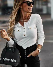 Ефектна дамска блуза в бяло - код 11516
