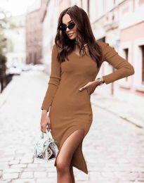 Изчистена дамска рокля в цвят капучино - код 6593