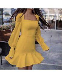 Елегантна рокля в цвят горчица - код 3605