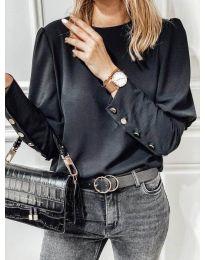 Изчистена дамска блуза с копчета при гърба в черно - код 318